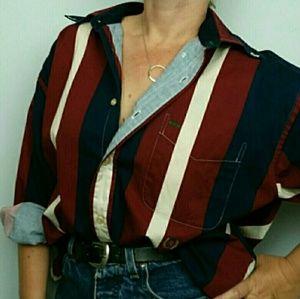 Vtg Tommy Hilfiger Men's Stripe Colorblock Shirt